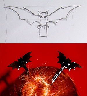 jewelry sketch bat hair sticks