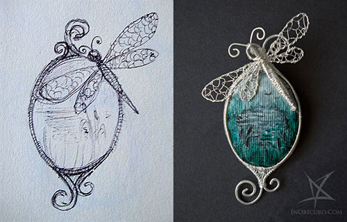 jewelry sketch dragonfly swamp brooch