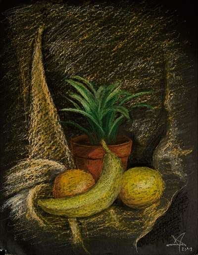 Dracaena, banana and two grapefruits
