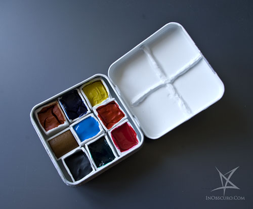 Handmade mini pocket watercolor tin